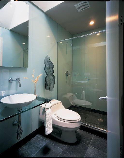Glass Bathroom Screen. Types, Design, Interior Application. Modern style with glass-topped vanity