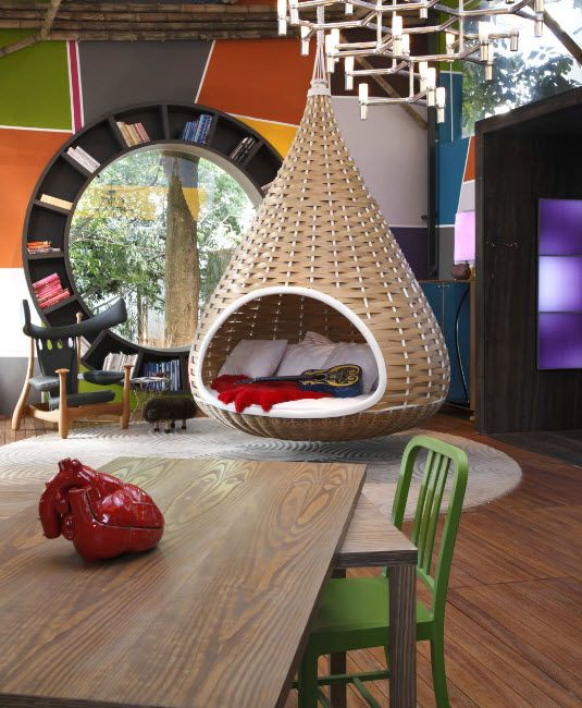 Suspended Bubble Chair. Modern Interior Ideas. Wicker pyramid in the spectacular studio apartment