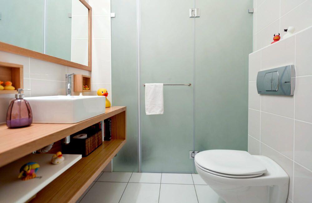 Modern Bathroom Interior Shower Cabin Design. Blank design of the glass partition