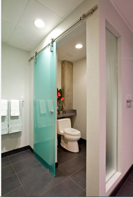 Glass Bathroom Screen. Types, Design, Interior Application. Sliding diaphanous partition