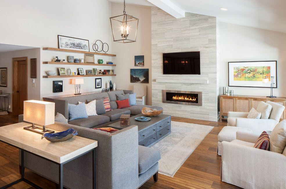 Artificial Fireplace as Part of Comfortable Life. Accent white rock stone trimmed wall