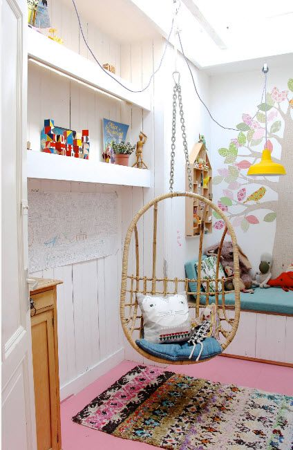 Suspended Bubble Chair. Modern Interior Ideas. Cozy kids' room in white color
