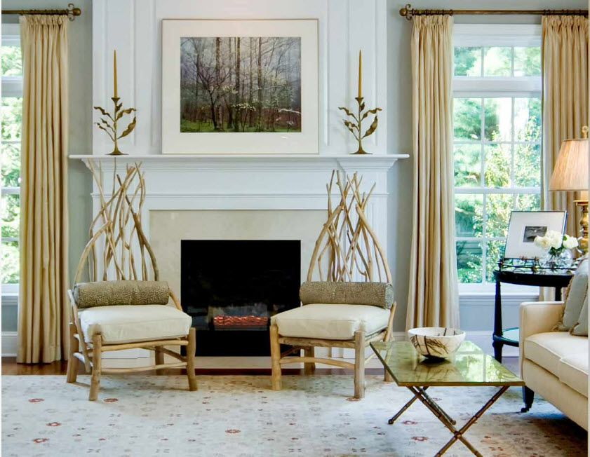 Artificial Fireplace as Part of Comfortable Life. Gorgeous modern Classic setting with wooden decorative elements
