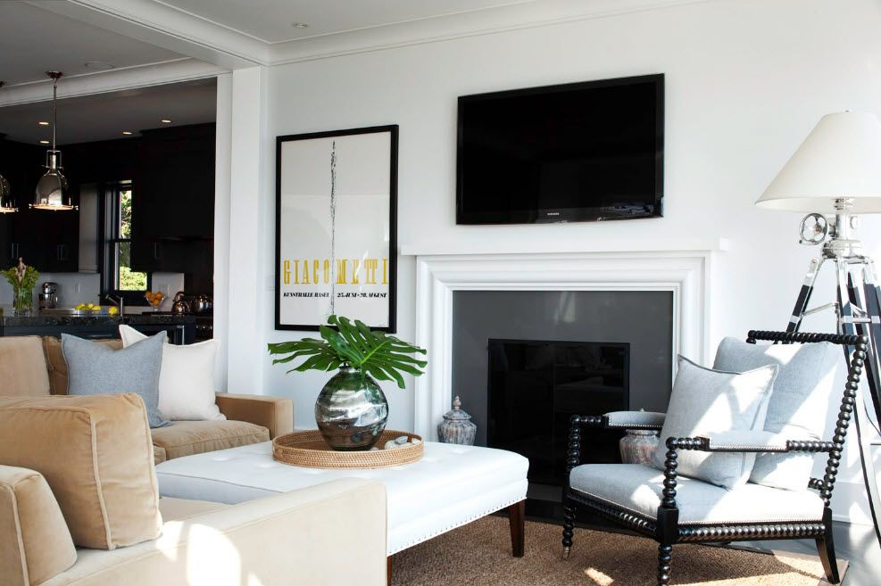 Artificial Fireplace as Part of Comfortable Life. Modern room atmosphere with minimalistic setting