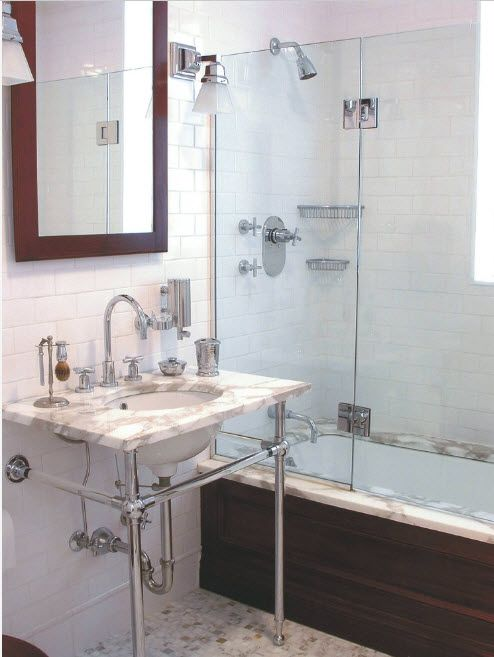 Glass Bathroom Screen. Types, Design, Interior Application. Industrial styled utlitiarian premise with open plumbing
