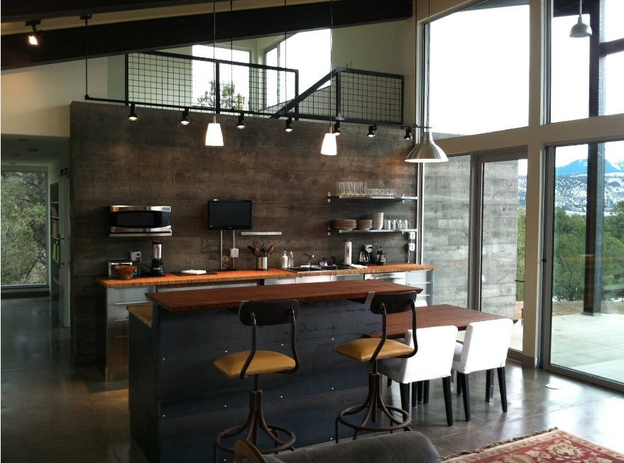 Dark Modern stylistic of the kitchen atmosphere for the loft premise