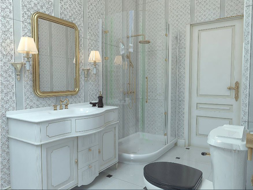 Royal classic design in the private house's bathroom with cabin on tray