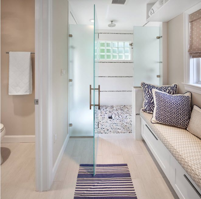 Modern Bathroom Interior Shower Cabin Design. Unique bathroom with relax zone