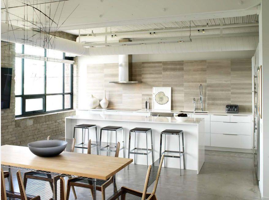 Loft Styled Kitchen. Industrial Motiffs for Comfortable Life. Light granite panels as the splashback
