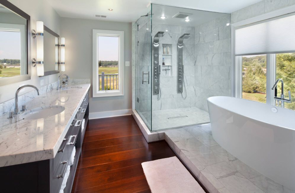 Noble wooden floor in the Classic decorated bathroom