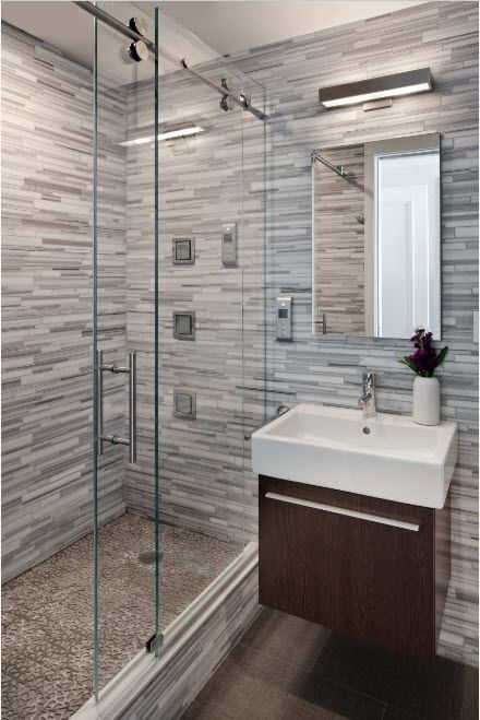 Glass Bathroom Screen. Types, Design, Interior Application. gray colored marble finishing