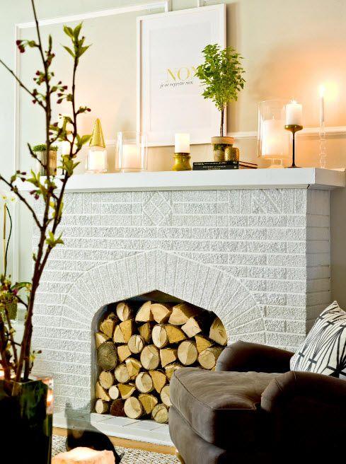 Eco style with large whitewashed brickwork finished fireplace