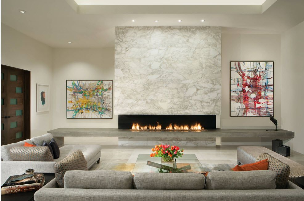 Artificial Fireplace as Part of Comfortable Life. Marble surface for the accent wall