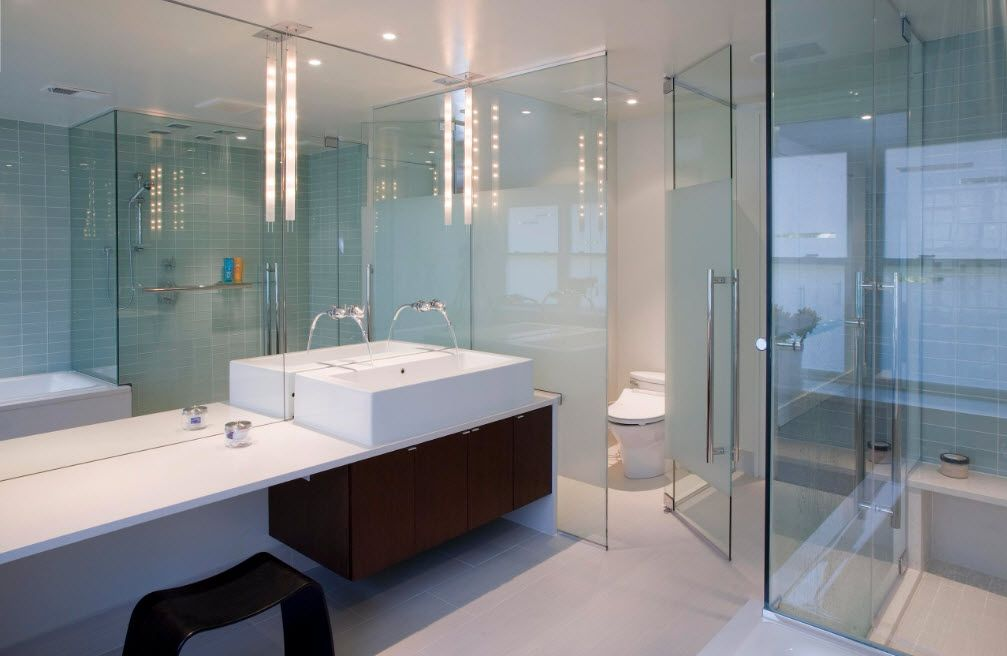 Glass Bathroom Screen. Types, Design, Interior Application. Modern hovering vanity