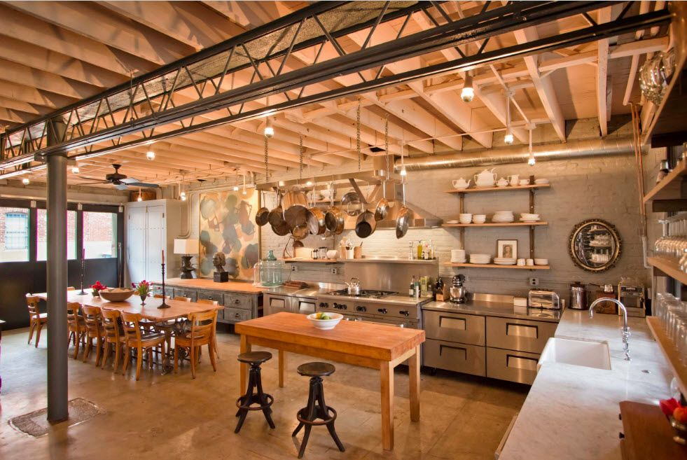 Loft Styled Kitchen. Industrial Motiffs for Comfortable Life. Warehouse looking and heavily illuminated space