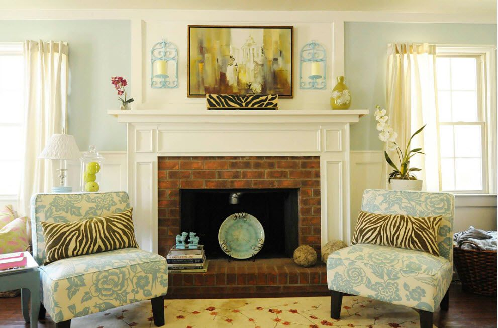 Typical classic fireplace finished with tile