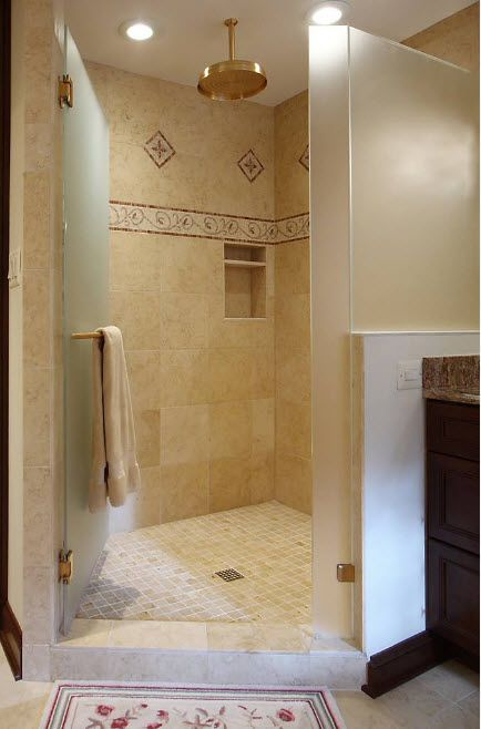 Modern Bathroom Interior Shower Cabin Design. Greek antique style for the standing cabin with draining in the floor