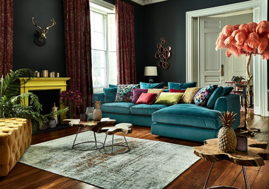 Kitsch and Pop-Art interior style mix with yellow framed fireplace