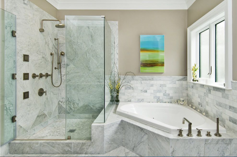 Classic plumbing equipped for the modern space with marble decorated water surfaces