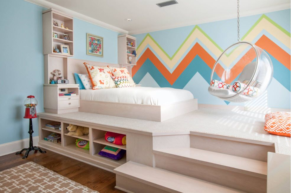 Bed on the pedestal with built-in storage in the kids' room
