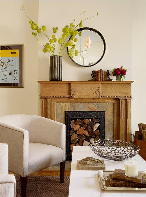 Rustic style in the modern house with raw treated wood for modern living room