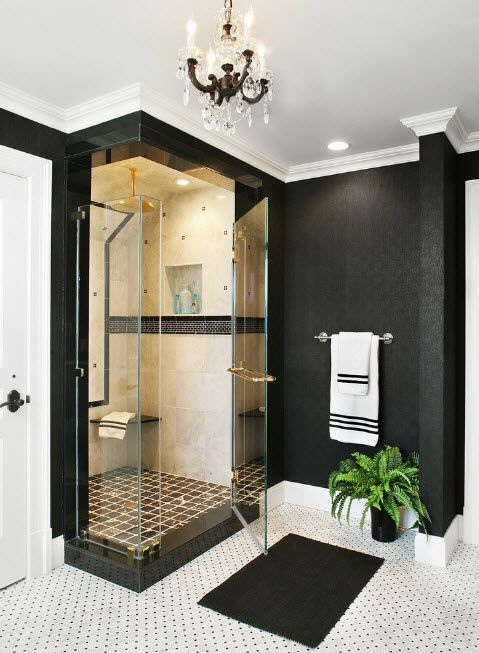 White and black spectacular mix in the hi-tech decorated bathroom with glass of the cabin looking like shop window