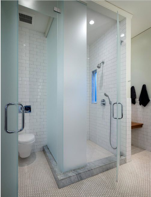 Modern Bathroom Interior Shower Cabin Design. Compact tray and matted glass