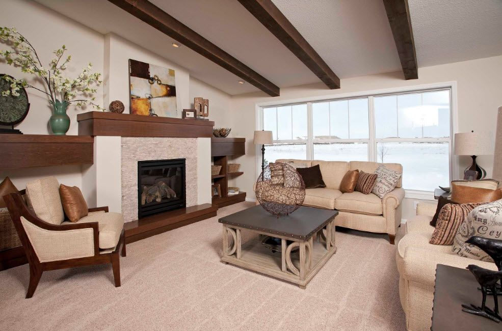 Nice coffee with milk color themefor Casual style interior with open brown wooden beams