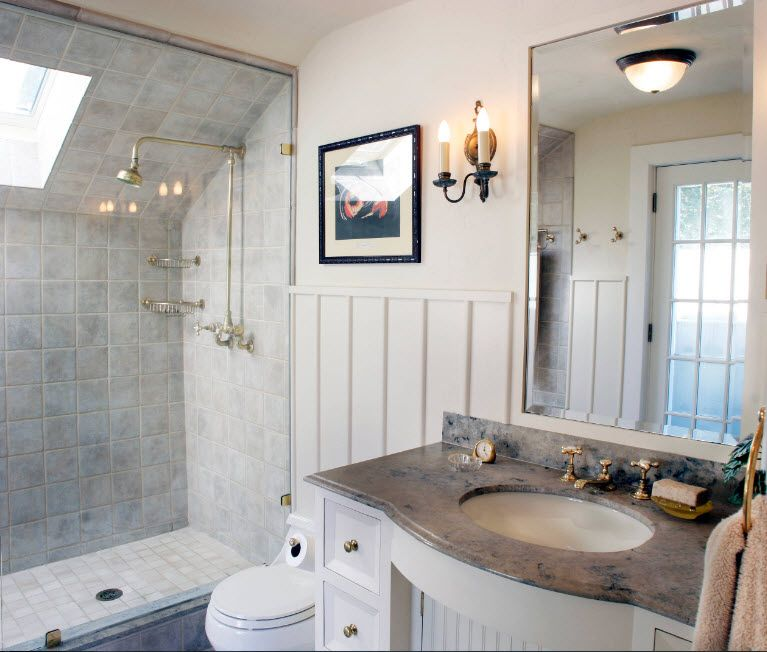 Modern Bathroom Interior Shower Cabin Design. Marble top for the vanity and the solid glass partition