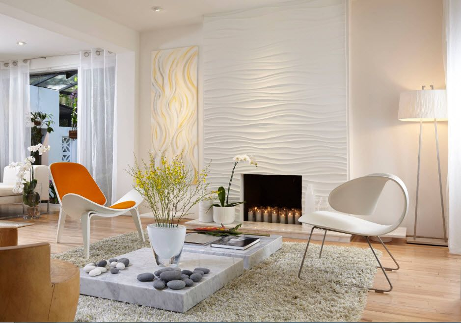 Light structre panels for walls and the black gape of fireplace
