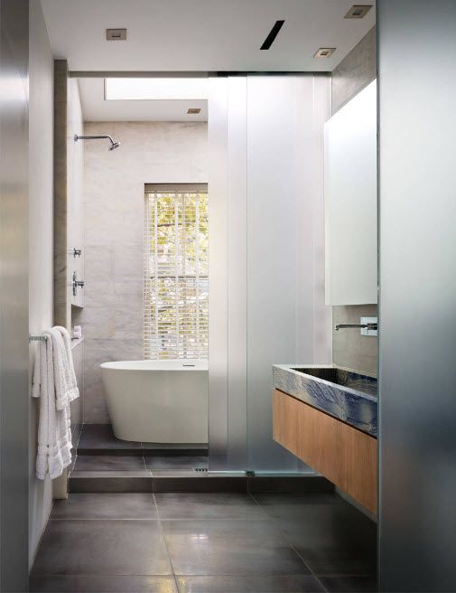 Glass Bathroom Screen. Types, Design, Interior Application. Industrial casual style for modern premise