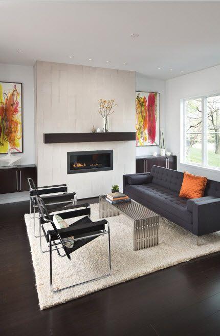 Artificial Fireplace as Part of Comfortable Life. Prominent wooden mantelshelf