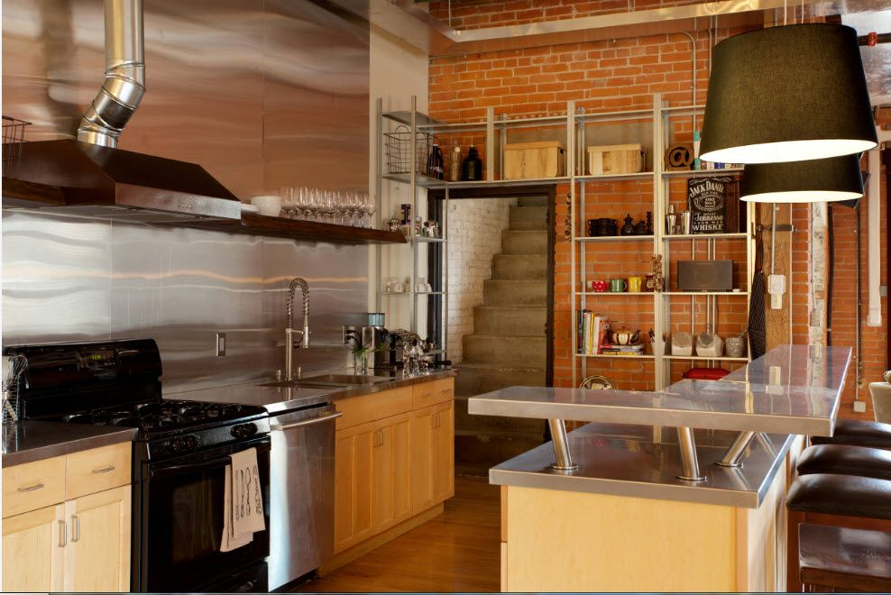 Loft Styled Kitchen. Industrial Motiffs for Comfortable Life. Multilevel apartment full of storage