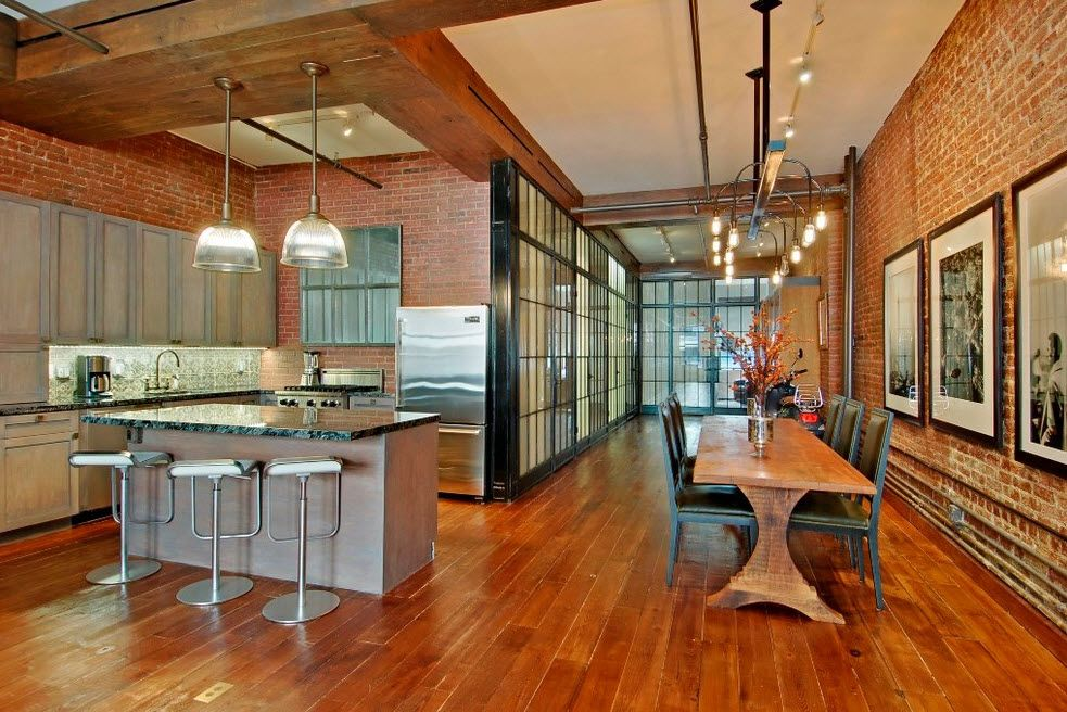 Loft Styled Kitchen. Industrial Motiffs for Comfortable Life. Space full of natural materials and glass