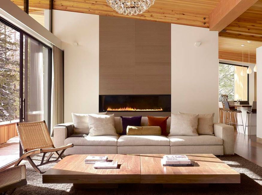 Artificial Fireplace as Part of Comfortable Life. Eco modern design full of wood and pastel colors