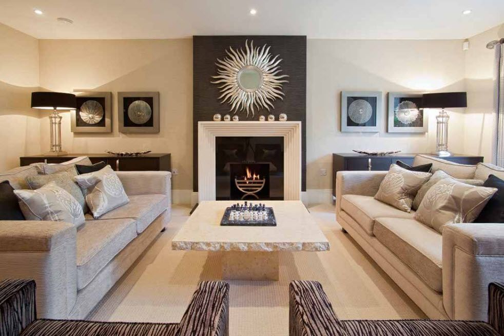 Artificial Fireplace as Part of Comfortable Life. Accent zone in the middle of the main room's wall