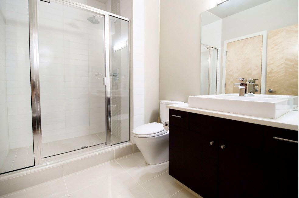 Simple modern design for the bathroom with dark wooden vanity