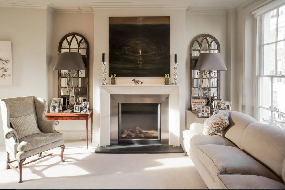 Artificial Fireplace as Part of Comfortable Life. Nice stained-glass windows