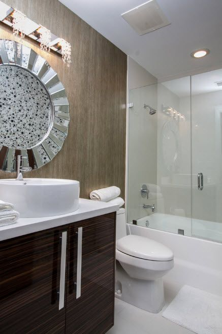 Glass Bathroom Screen. Types, Design, Interior Application. Silver starburst mirror