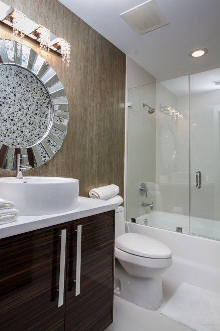 Glass Bathroom Screen. Types, Design, Interior Application. Silver starburst mirror