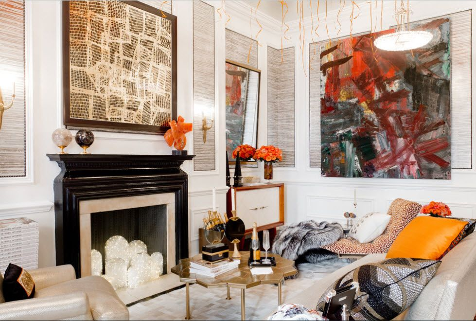 Artificial Fireplace as Part of Comfortable Life. Orange motes at the garish interior