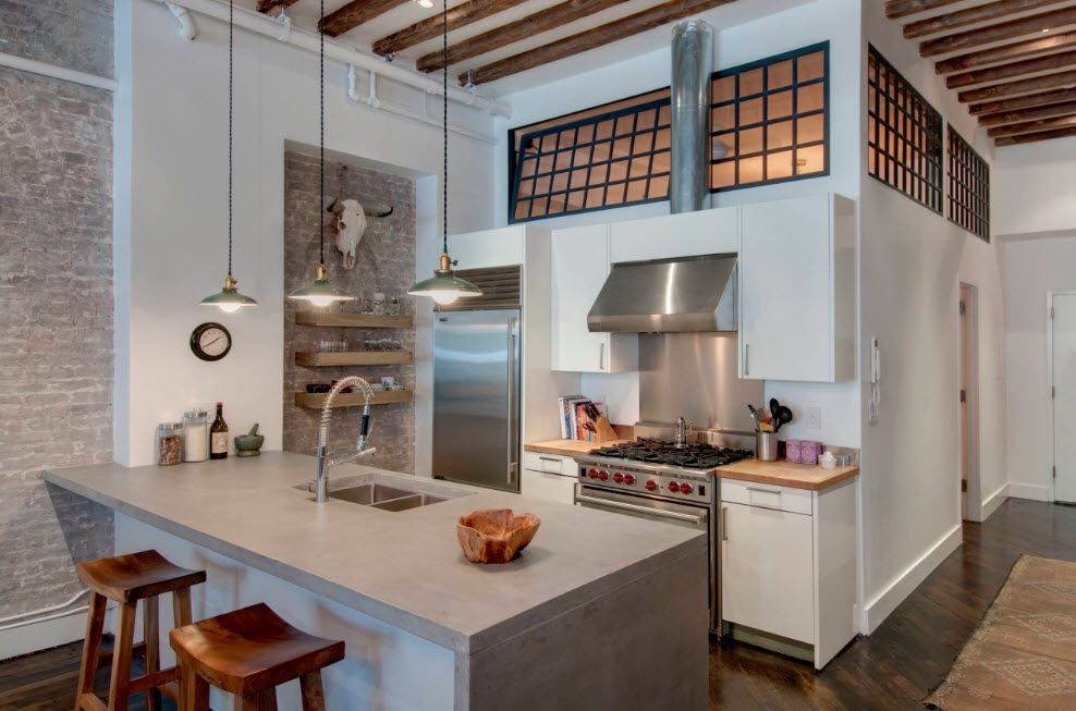 Loft Styled Kitchen. Industrial Motiffs for Comfortable Life looking similarly to the Provence and rustic space