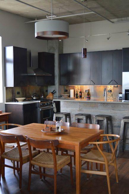 Dark furniture facades look great at the loft furnished kitchen