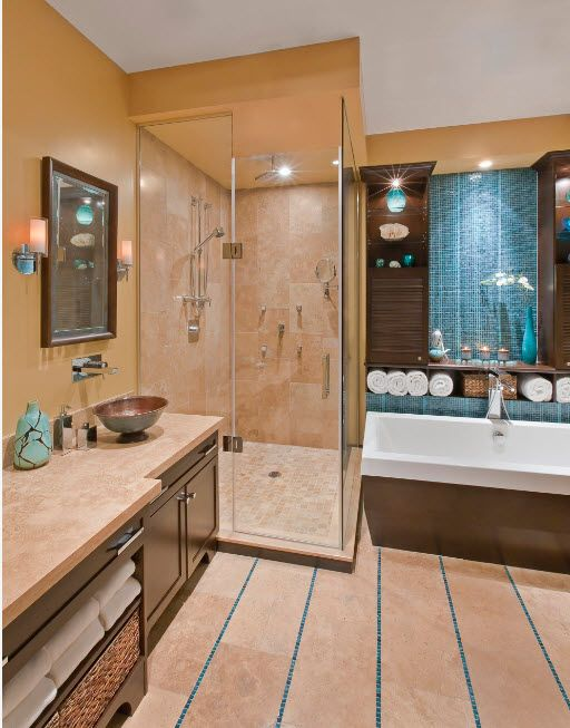 Mocaccino color theme of teh bathroom finished with marble and intereresting tiled floor