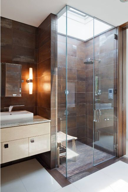 Modern Bathroom Interior Shower Cabin Design. Brown stone tile finish