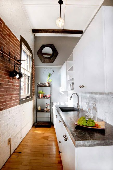 Loft Styled Kitchen. Industrial Motiffs for Comfortable Life. Almost fully transformed interior of the white colored apartment