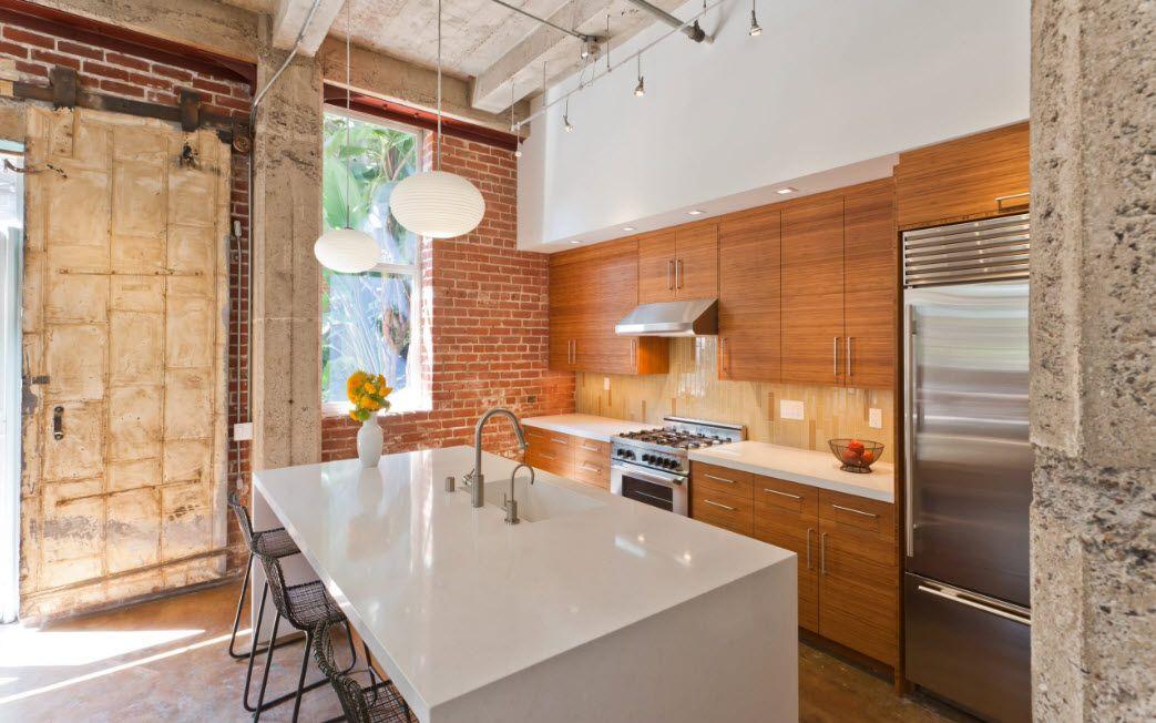 Loft Styled Kitchen. Industrial Motiffs for Comfortable Life. Spectacular light wooden splashback