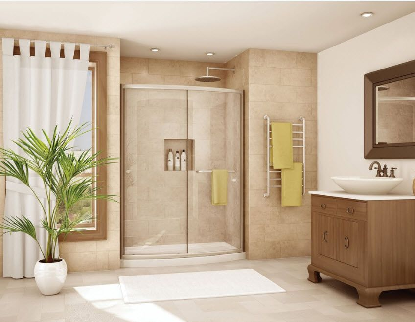 Swing glass doors at the Modern bathroom