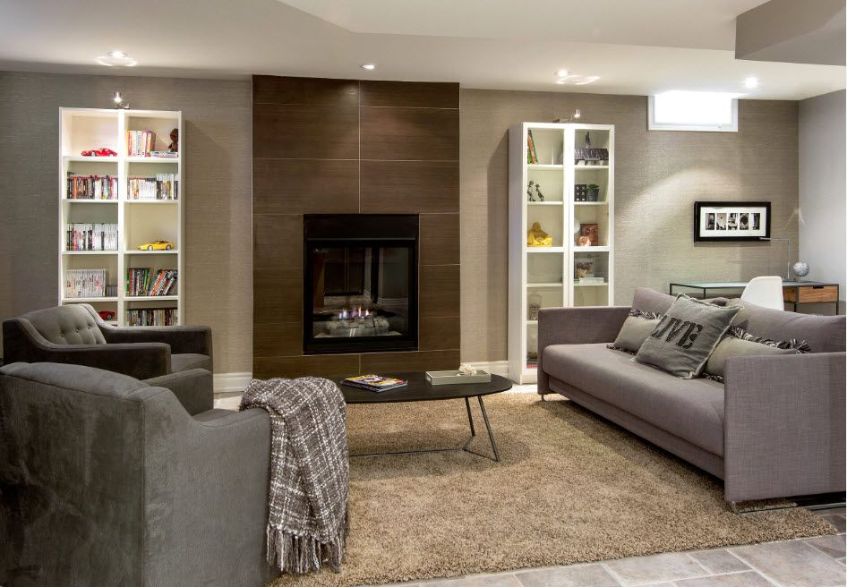 Spectacular gray wooden panel to emphasize the accent wall with artificial fireplace in it