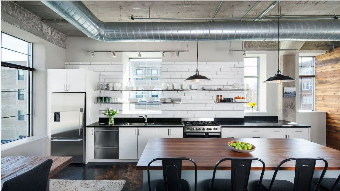 Loft Styled Kitchen. Industrial Motiffs for Comfortable Life. Open extractor hood pipe at the neat designed interior